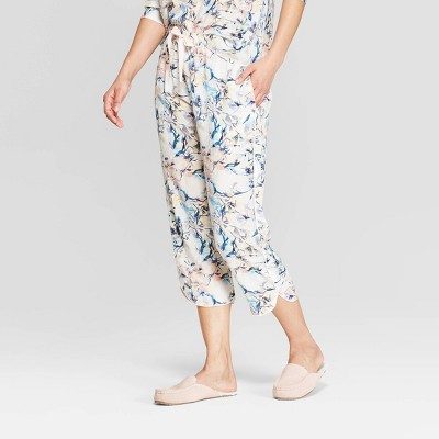 Women's Floral Print Simply Cool Crop Pajama Pants - Stars Above™ White