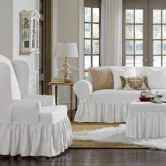 Living Room Chair Slipcovers Grey Furniture Essential Twill Ruffle Wing Slipcover White Sure Fit Target