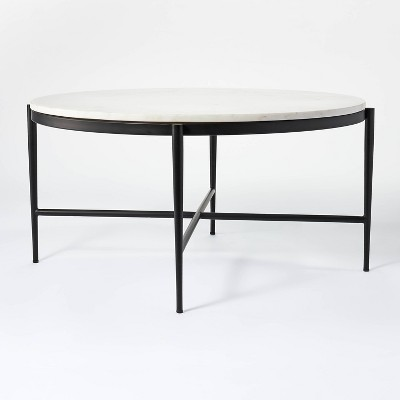 pleasant grove round marble coffee table white threshold designed with studio mcgee