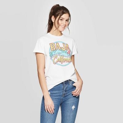 Women's Short Sleeve Baja California Graphic T-Shirt - Mighty Fine (Juniors') - White