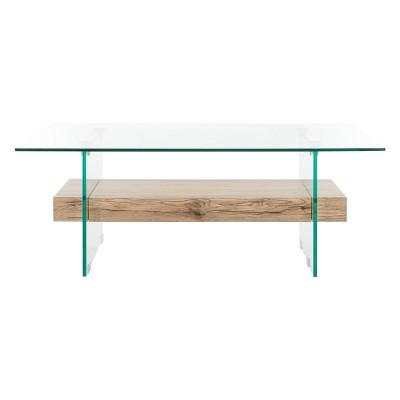 kayley glass coffee table natural safavieh