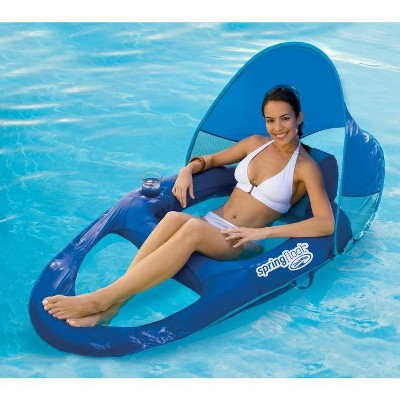pool chair floats target patio covers costco swimways spring float recliner lounge w sun canopy blue 1 more