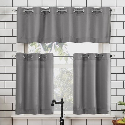 36 x54 dylan casual textured semi sheer grommet kitchen curtain valance and tiers set gray no 918