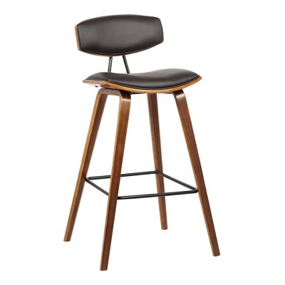 "26"" Fox Mid-Century Counter Height Barstool in Brown Faux Leather with Walnut Wood - Armen Living"