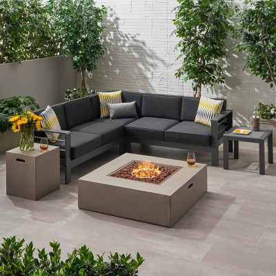 6pc cape coral aluminum patio chat set with fire pit gray christopher knight home