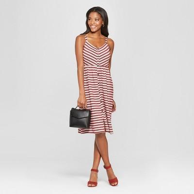 Women's Striped Strappy Button Front Knit Midi Dress - Xhilaration™