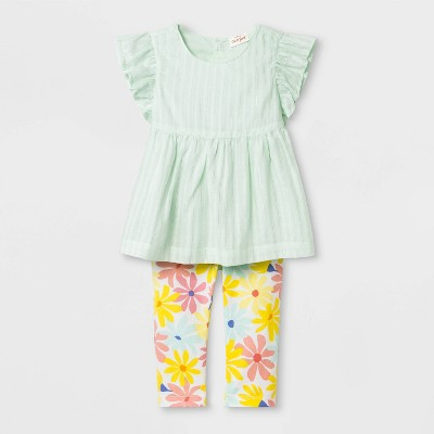 Baby Girls' Dobby Tunic and Floral Leggings - Cat & Jack™ Green/Yellow