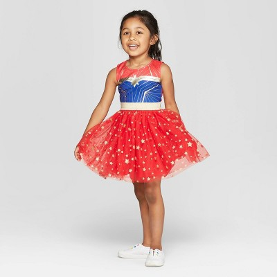Toddler Girls' Captain Marvel Cosplay Tutu Dress - Red/Navy