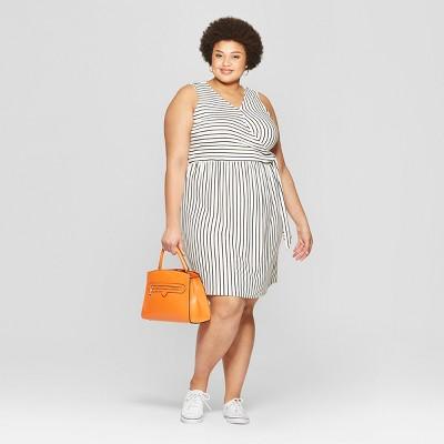 Women's Plus Size Striped Sleeveless V-Neck Knit Tie Detail Dress - Ava & Viv™ Black/White
