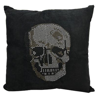 luminecence rhinestone skull square throw pillow black mina victory