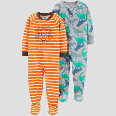 Toddler Boys' Orange Stripe Dino Footed Sleepers - Just One You® made by carter's Orange/Gray
