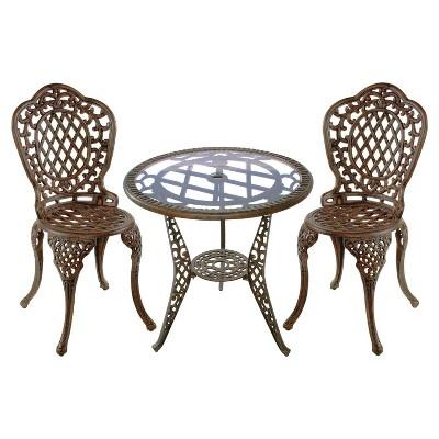 mississippi 3 piece cast aluminum patio bistro furniture set