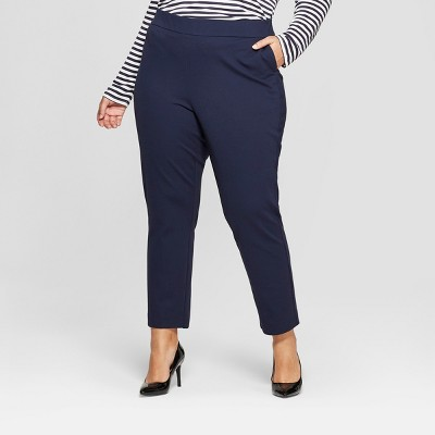 Women's Plus Size Pull On Slim Ankle Ponte Pants - Ava & Viv™