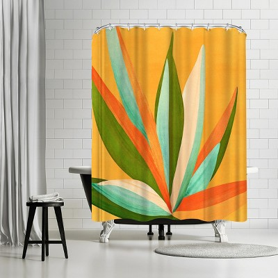 americanflat minimalist agave textured3 by modern tropical 71 x 74 shower curtain