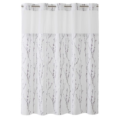 cherry bloom shower curtain with liner white hookless