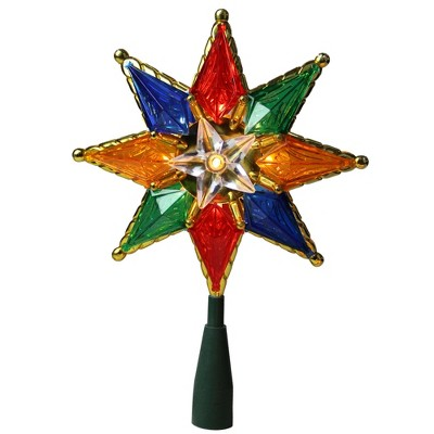 """Northlight 8"""" Multi-Color Mosaic 8-Point Star Christmas Tree Topper - Clear Lights"""