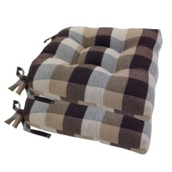 Chair Cushions With Tie Backs Office Chairs That Recline Chocolate Buffalo Check Woven Plaid Pads Tiebacks Set Of About This Item