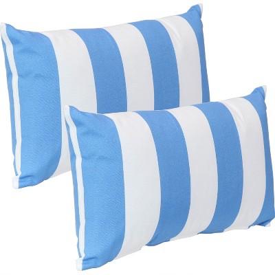 sunnydaze indoor outdoor weather resistant polyester lumbar decorative pillow with zipper closure 12 x 20 beach bound stripe 2pk