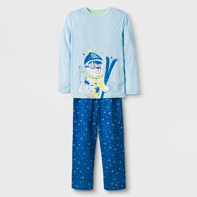Boys' 2pc Long Sleeve Ski Bear Graphic Pajama Set - Cat & Jack™ Blue