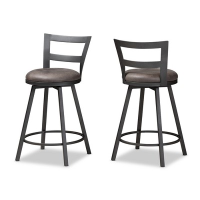 Set of 2 Arjean Faux Leather Upholstered Pub Stool Gray/Black - Baxton Studio