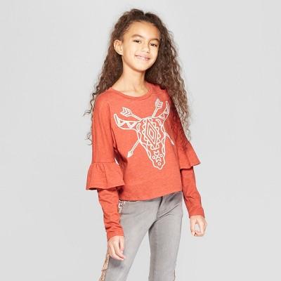 Girls' Long Sleeve Ruffle T-Shirt - art class™ Red