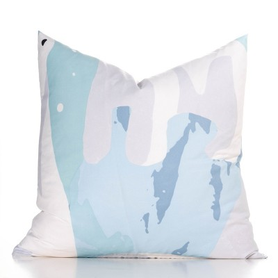 "20""x20"" White Bear Accent Throw Pillow With Sham Light Blue - Crayola"