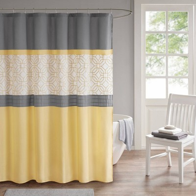 Merissi Shower Curtain With Liner Yellow/Gray