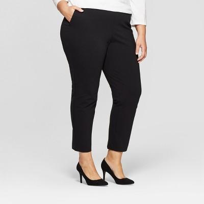 Women's Plus Size Pull On Slim Ankle Ponte Pants - Ava & Viv™