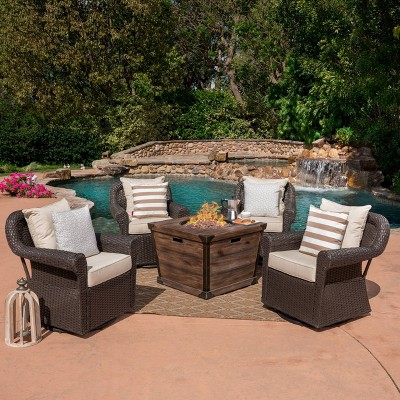 blanca 5pc wicker swivel club chairs and fire pit set dark brown christopher knight home