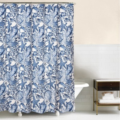 c f home blue coast shells shower curtain