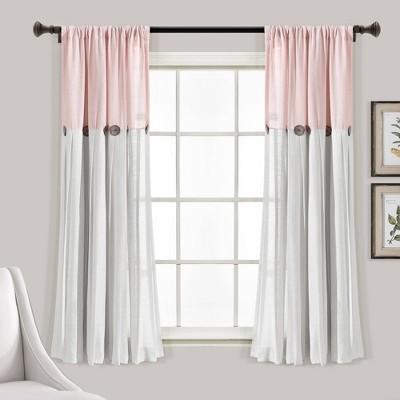84 x40 linen button light filtering window curtain panel blush white lush decor