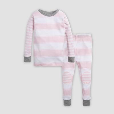 Burt's Bees Baby® Toddler Girls' Peace Stripe Organic Cotton Pajama Set - Blossom