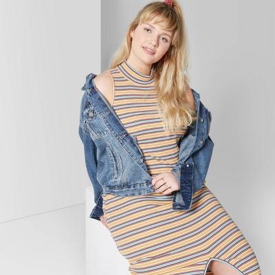 Women's Plus Size Striped Sleeveless Mock Neck Knit Midi Dress - Wild Fable™ Yellow