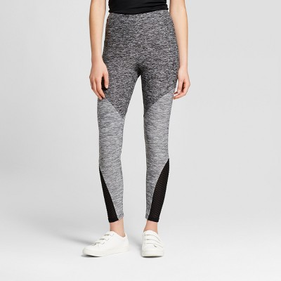 Women's Space Dye Leggings with Mesh Piecing - Xhilaration™ Black/Gray