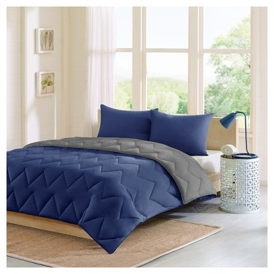 Navy/Gray Penny Reversible Comforter Mini Set Full/Queen 3pc