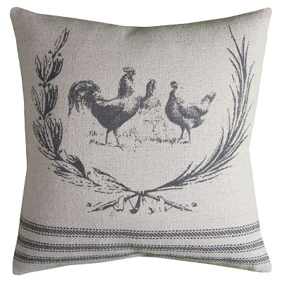 """Natural/Gray Rooster Throw Pillow (20""""x20"""") - Rizzy Home®"""