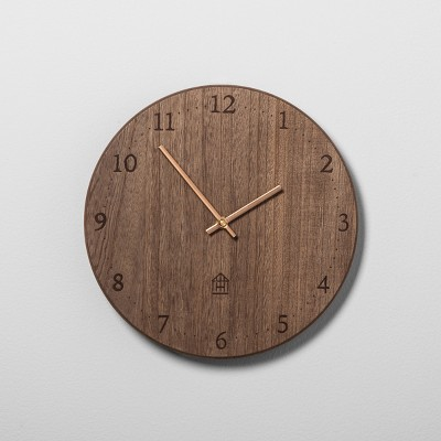 wooden kitchen clock faucets kohler round wood hearth hand with magnolia target