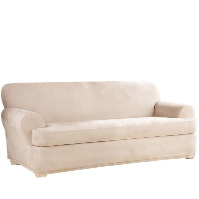 Stretch Suede T-Sofa Slipcover - Sure Fit