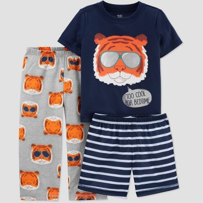 Toddler Boys' 3pc Poly Tiger Pajama Set - Just One You® made by carter's Navy/Orange/Blue