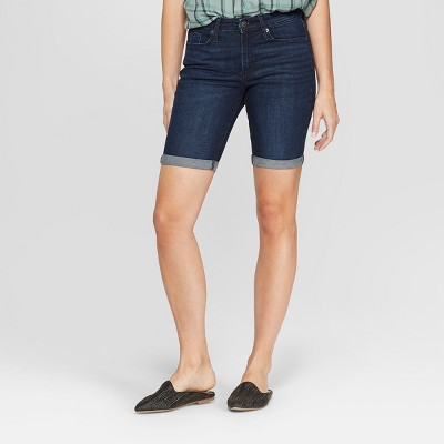 Women's High-Rise Bermuda Jean Shorts - Universal Thread™ Dark Wash