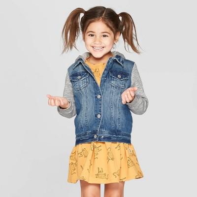 Toddler Girls' Long Sleeve Denim Jacket - art class™ Blue/Heather Gray