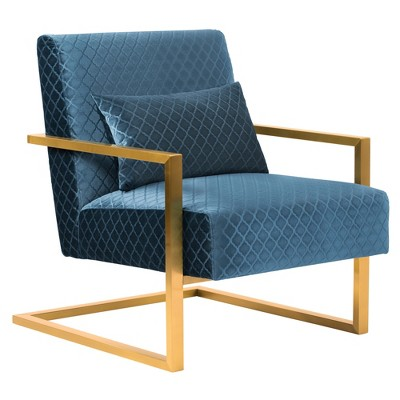 contemporary accent chair covers green skyline in blue velvet with gold brushed steel finish armen living