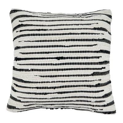 22 x22 zebra chindi design cotton throw pillow cover black white saro lifestyle
