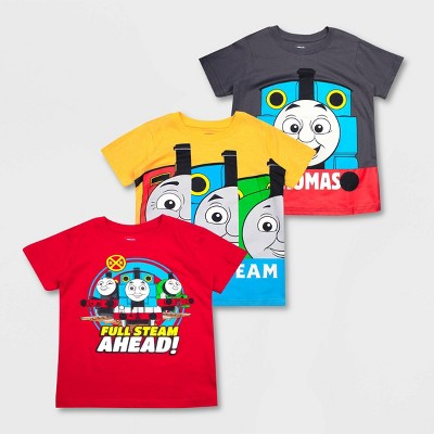 Toddler Boys' Mattel Thomas & Friends 3pk Short Sleeve T-Shirts -Red/Yellow/Gray