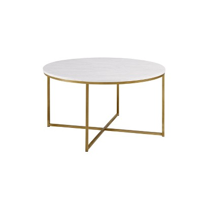 vivian glam x leg round coffee table faux marble white gold saracina home