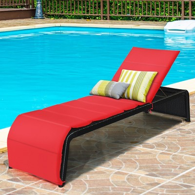 costway patio rattan lounge chair chaise recliner back adjustable cushioned garden red