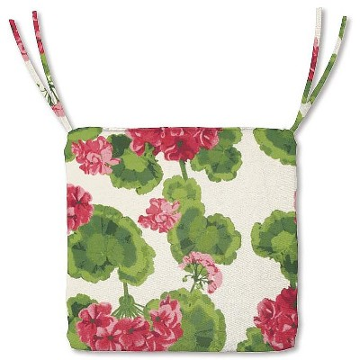 plow hearth polyester classic outdoor chair cushions with ties 20 75 x 20 x 3 geranium