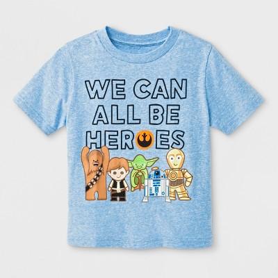 Toddler Boys' Star Wars Be Heroes Short Sleeve T-Shirt - Light Blue