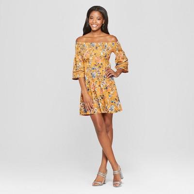Women's Floral Print Long Sleeve Smocked Top Off the Shoulder Knit Dress - Xhilaration™