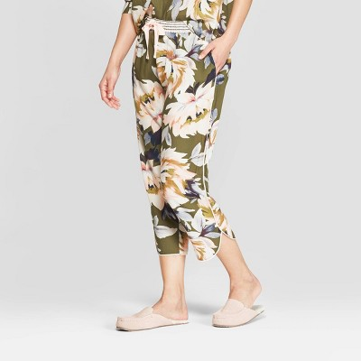 Women's Floral Print Simply Cool Crop Pajama Pants - Stars Above™ Green